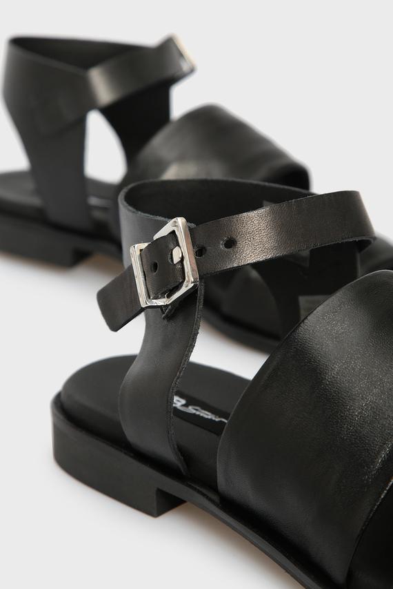 Женские черные кожаные сандалии ELBA