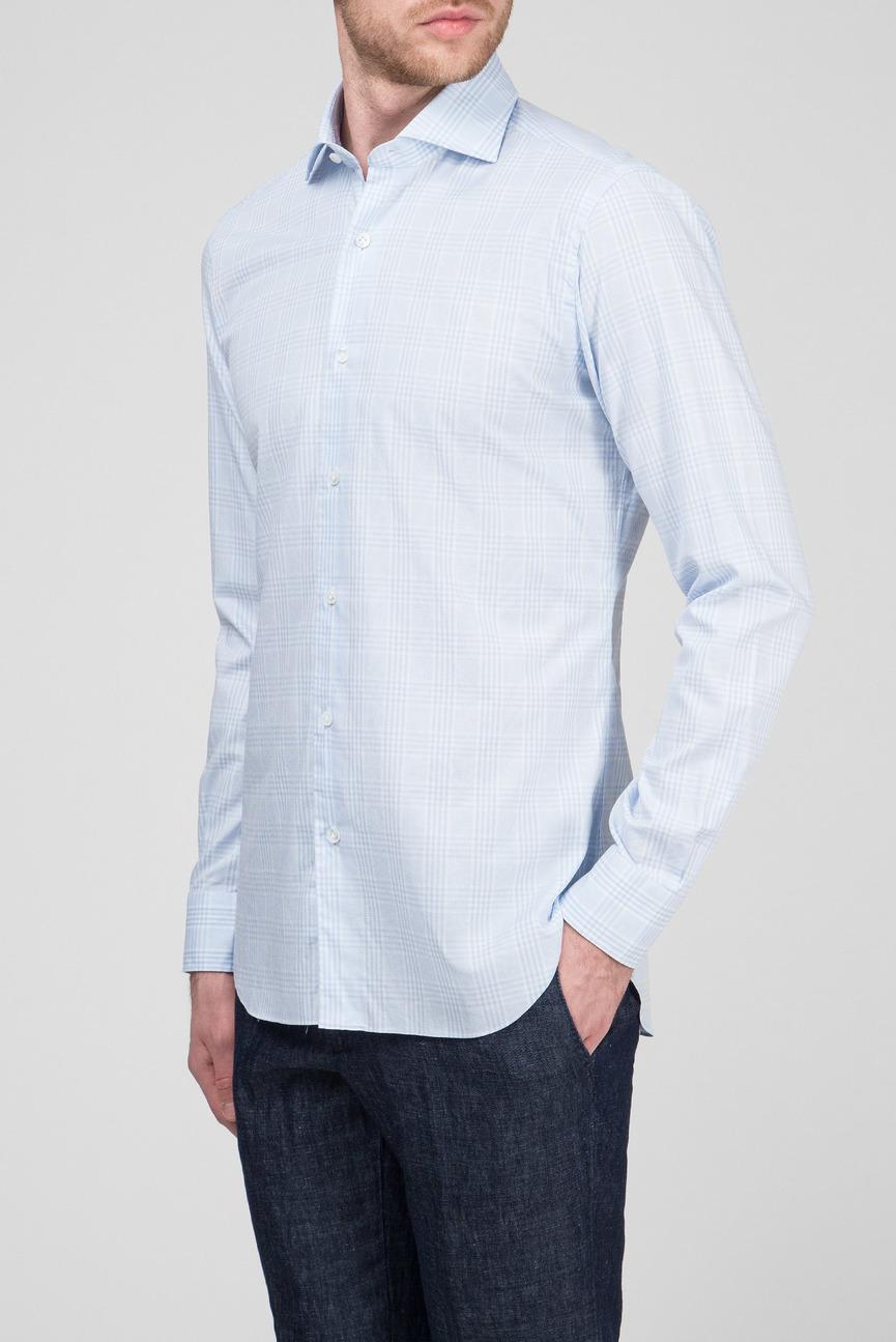 Мужская голубая рубашка в клетку