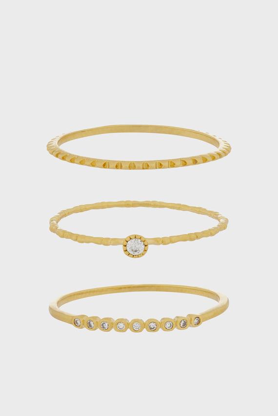 Женские золотистые кольца SPARKLE STACKING (3 шт)