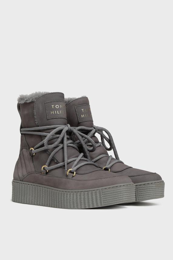 Женские серые кожаные ботинки COSY