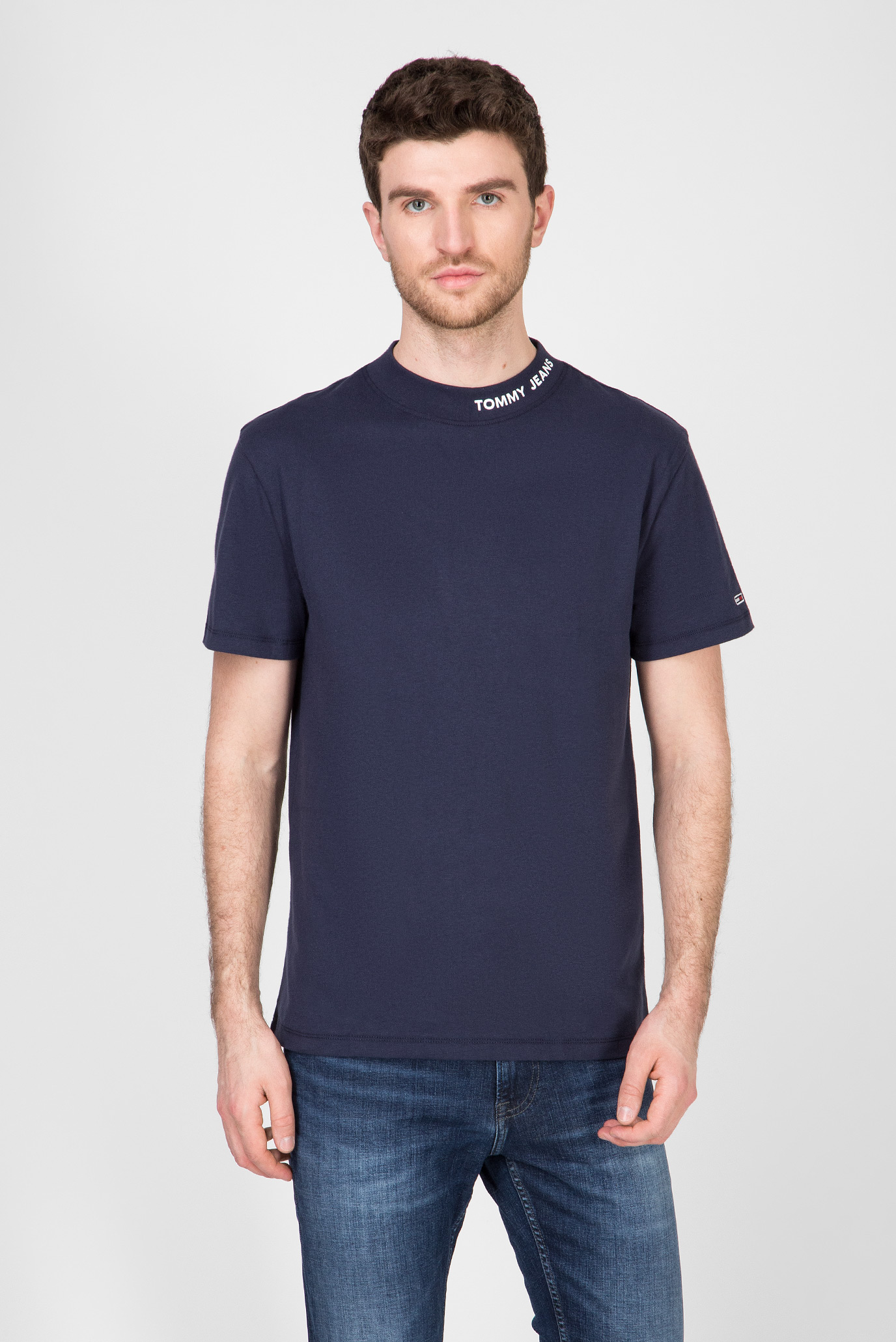 Чоловіча темно-синя футболка TJM BRANDED HIGH NECK 1