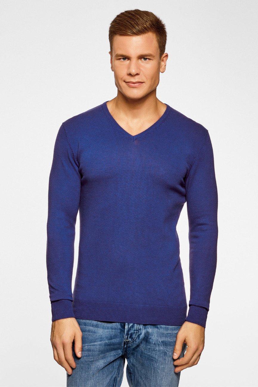 Мужской синий пуловер