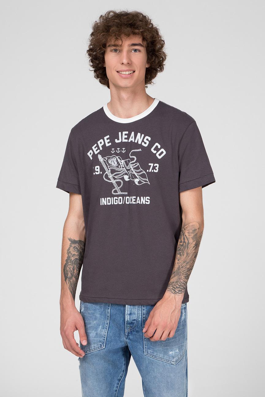 Мужская серая футболка с принтом DOUGLAS
