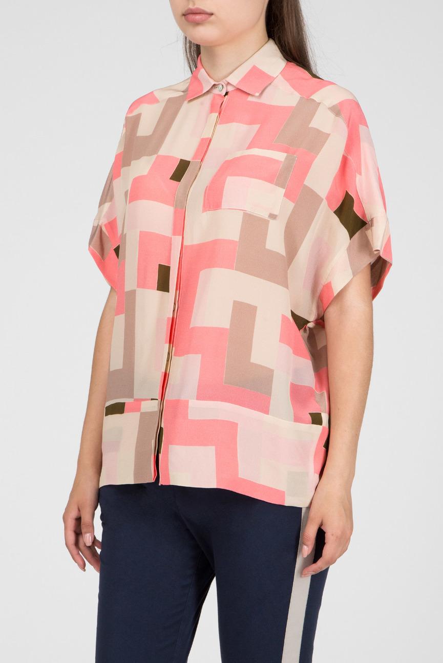 Женская розовая шелковая блуза