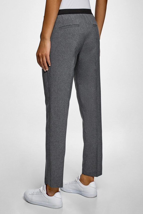 Женские серые укороченные брюки