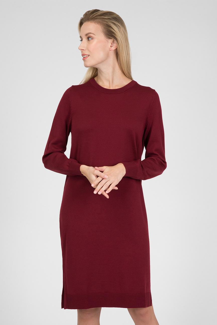 Женское бордовое платье