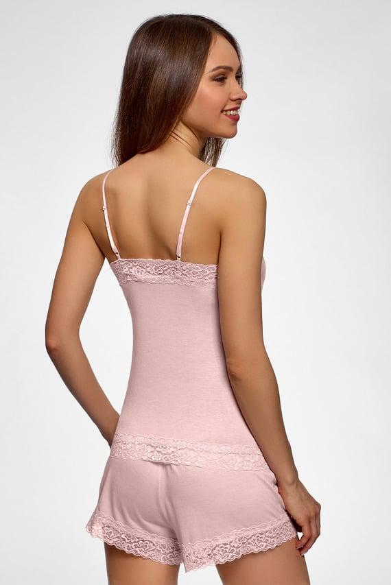 Женская розовая пижама (майка, шорты)
