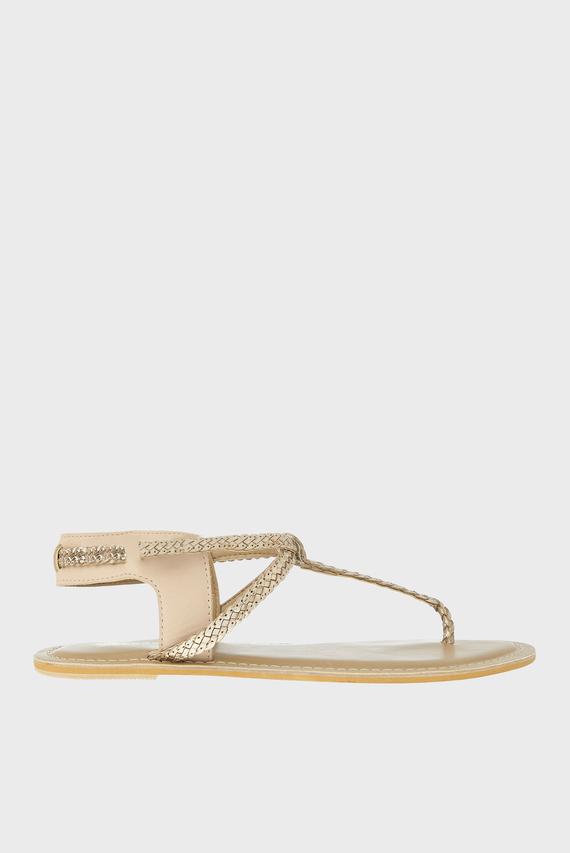 Женские золотистые кожаные сандалии JEN