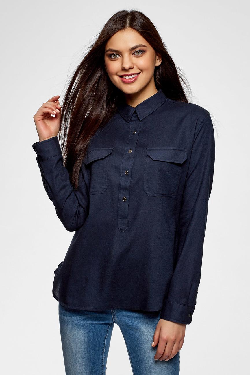 Женская темно-синяя рубашка