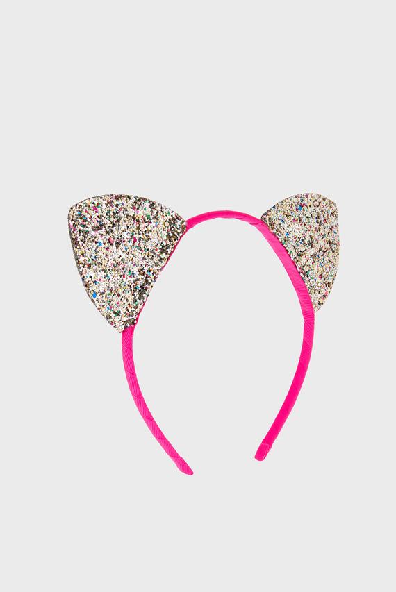 Детский серебристый обруч GLITTER CAT EARS