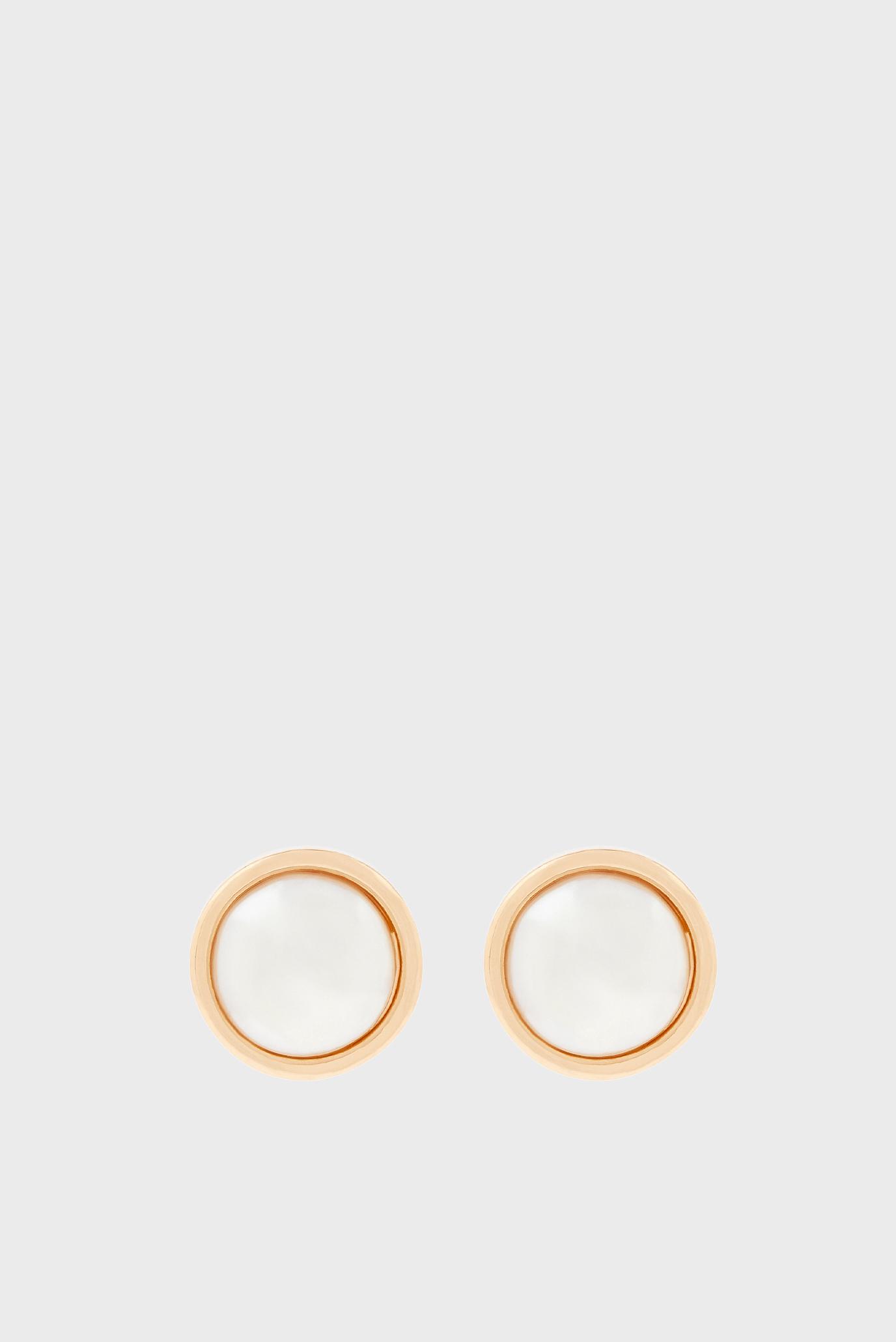 Жіночі золотисті сережки ENCASED PEARL STUD 1