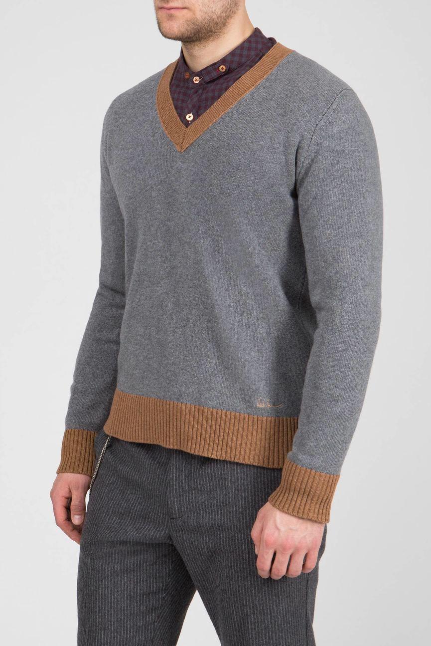 Мужской серый шерстяной пуловер