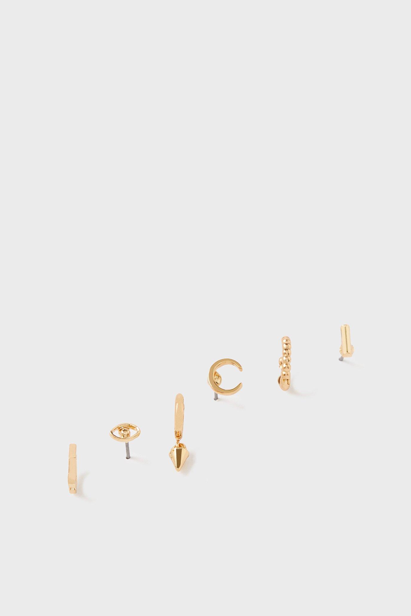 Женские золотистые серьги (6 шт) EYE BOBBLE & SPIK 1