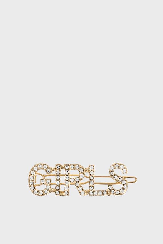 Женская золотистая заколка GIRLS CRYSTAL SLOGAN