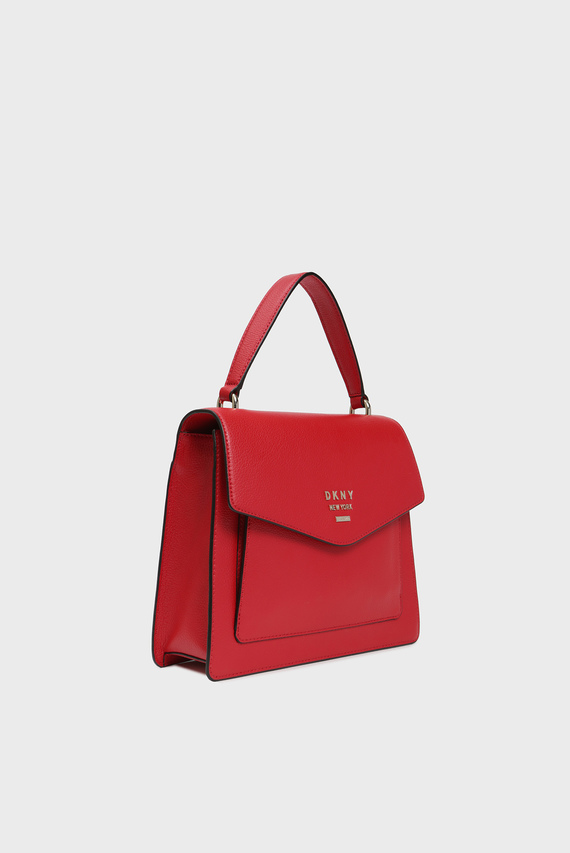 Женская красная кожаная сумка через плечо