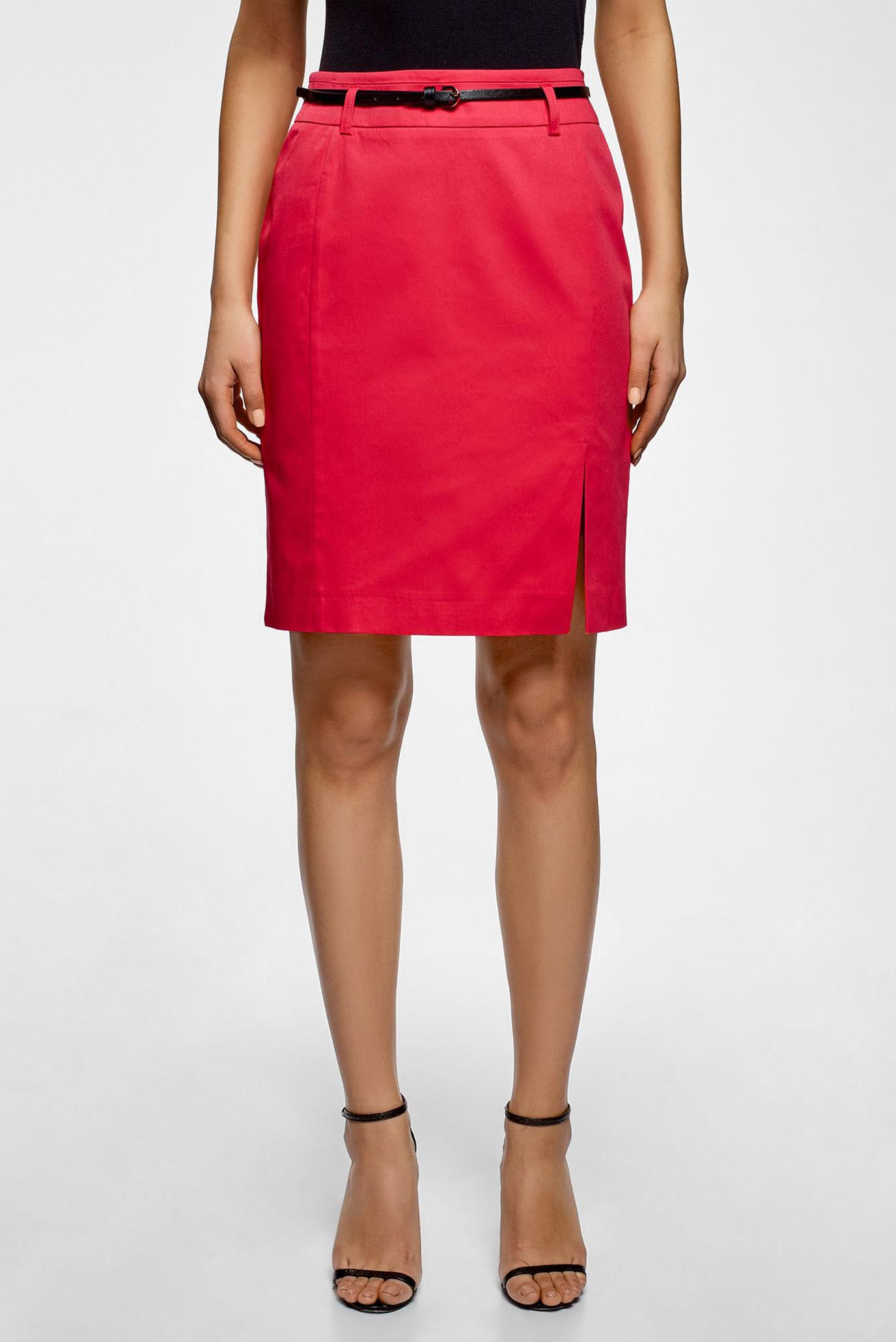 06594d42d78 Купить Женская красная юбка-карандаш с ремнем Oodji Oodji 21601273-1 14522 4D00N  – Киев