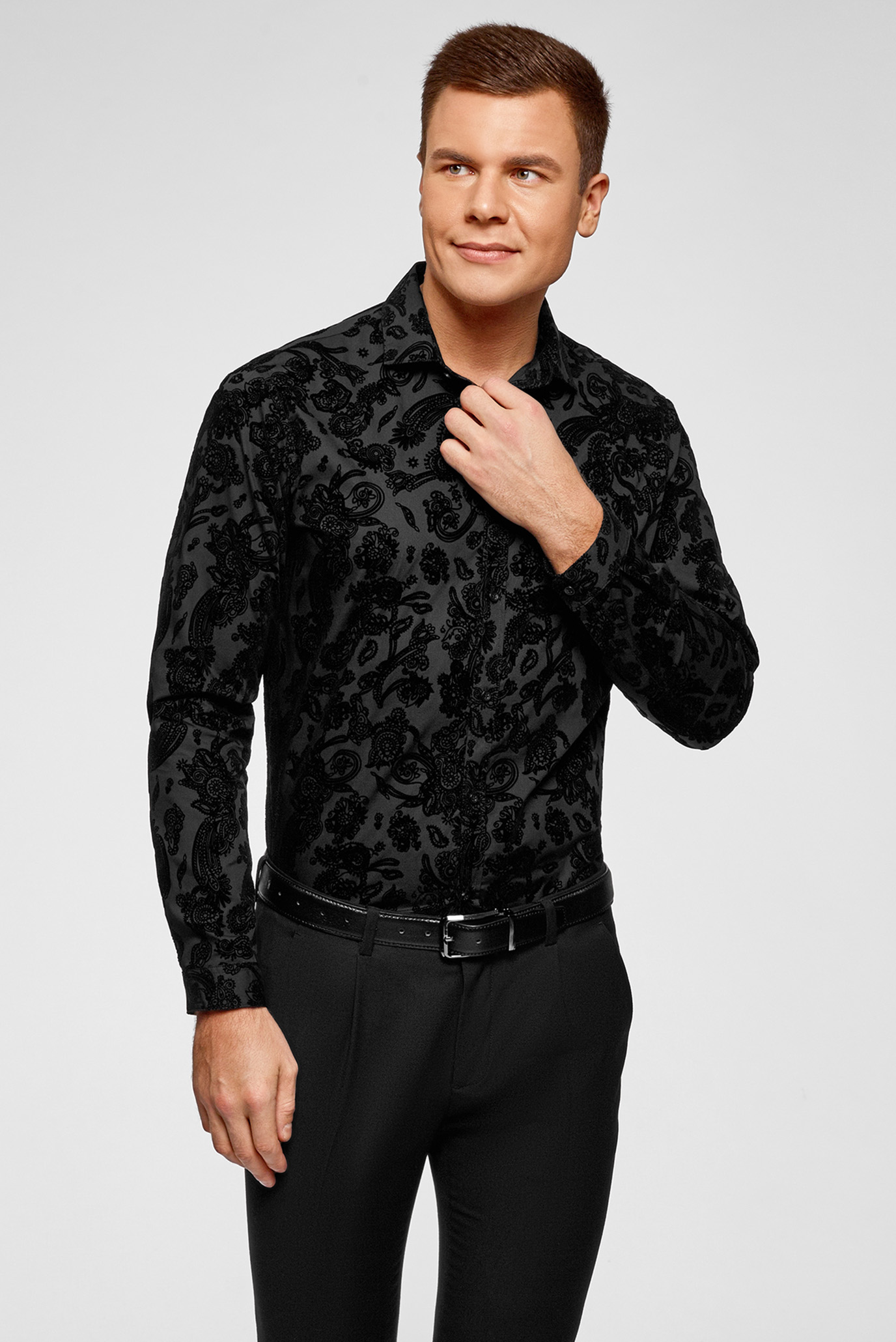 24f0b0b7bd2 Купить Мужская черная рубашка с узором Oodji Oodji 3L110351M 48812N 2900E –  Киев