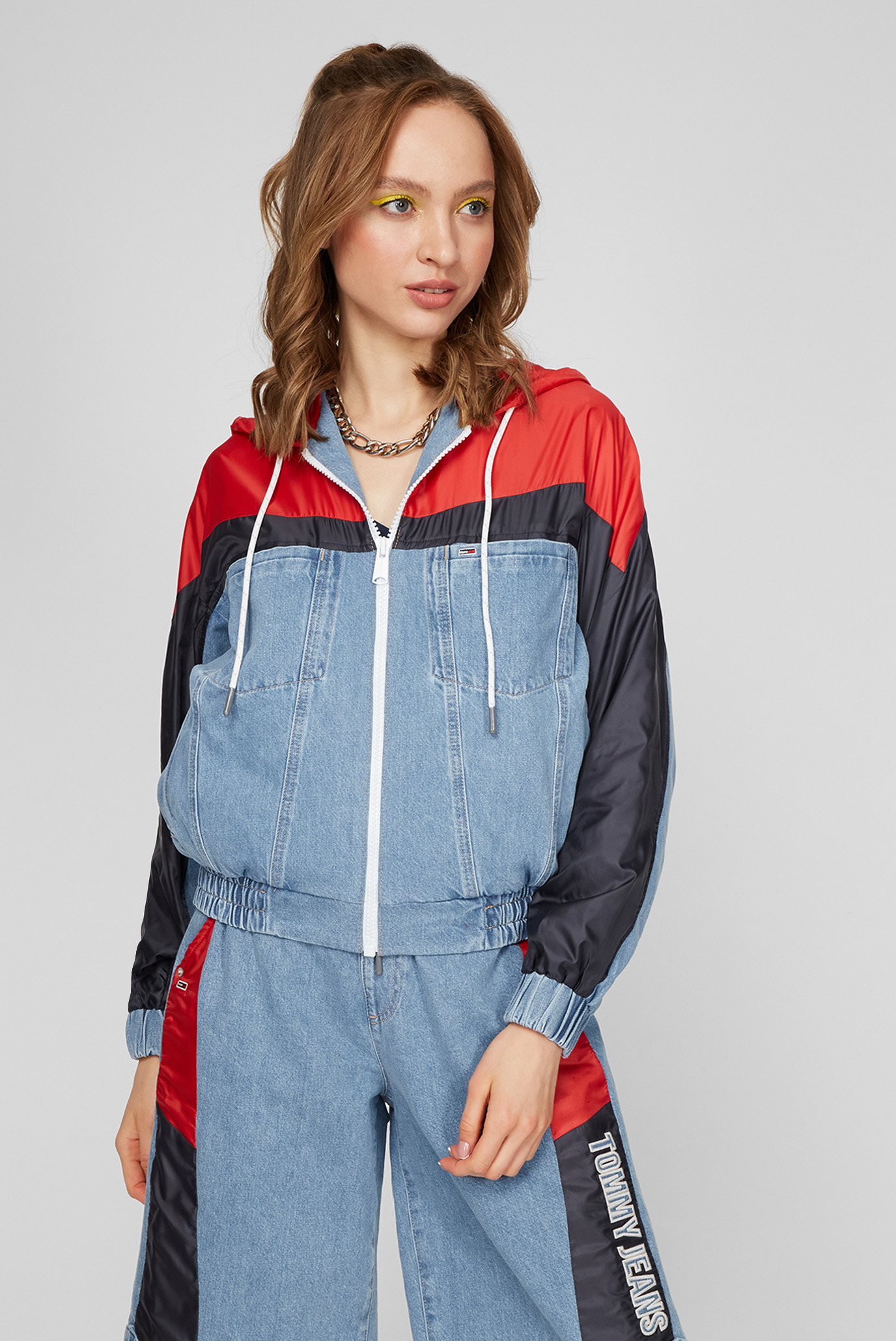 Женская голубая джинсовая куртка HOODIE ELASTICTD CROP JK FMXLBR 1