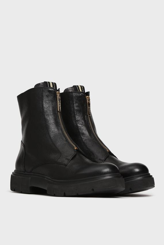 Женские черные кожаные ботинки EVE