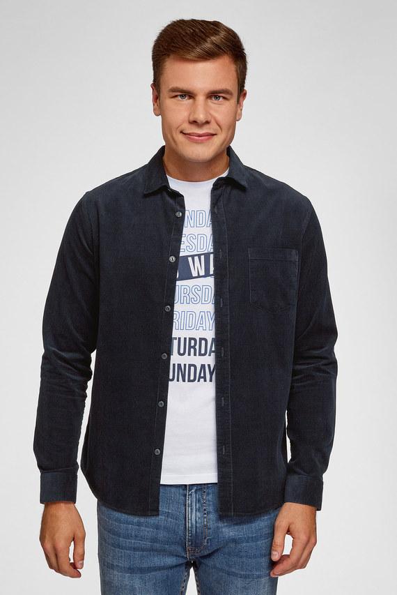 Мужская синяя вельветовая рубашка