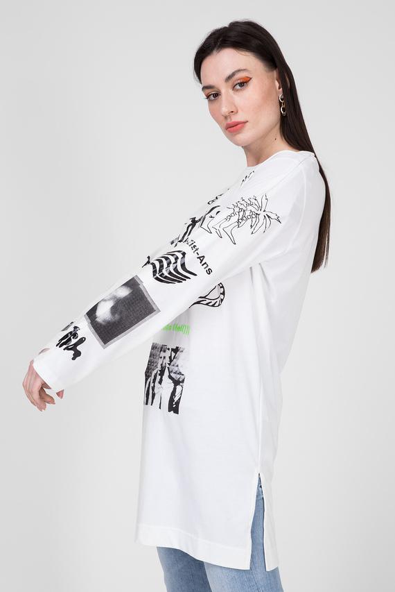 Женский белый удлиненный лонгслив T-ROSY-A