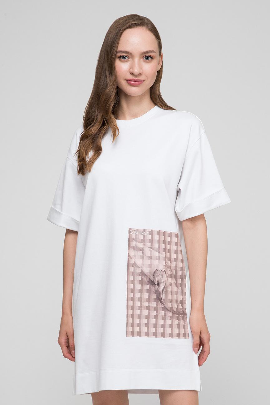 Женское белое платье BOX FLORAL TEE DRESS