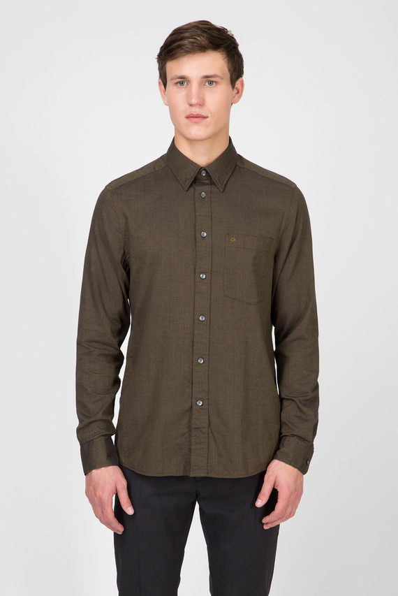 Мужская зеленая рубашка BRUSHED TWILL