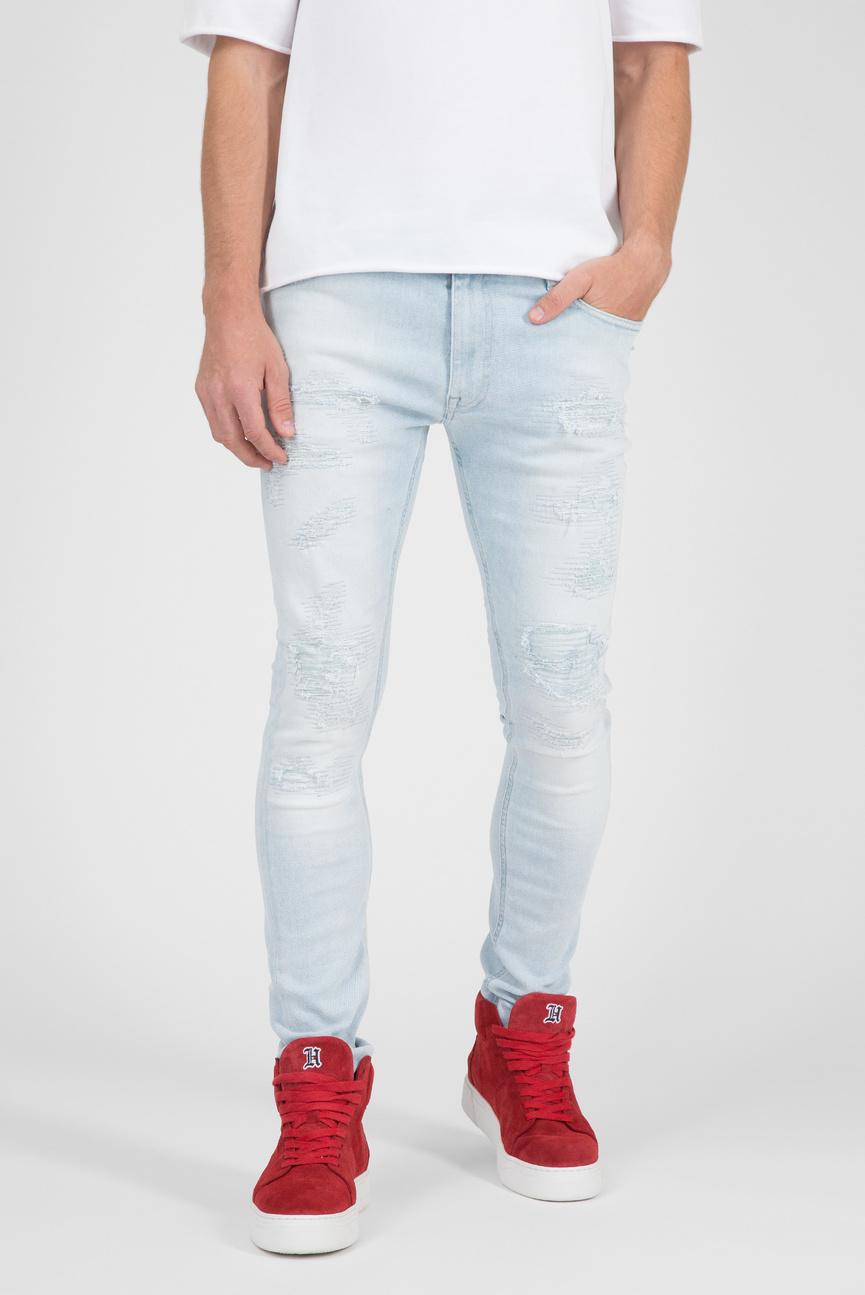 Мужские светло-голубые джинсы LEWIS HAMILTON DISTRESSED