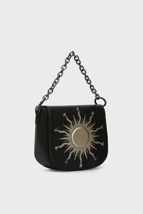 Женская черная сумка через плечо FUSION