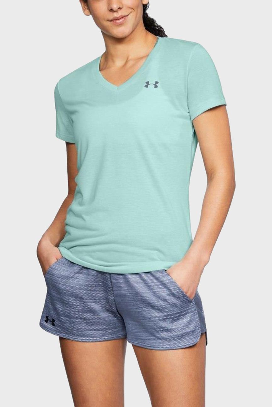 Женская голубая футболка Threadborne Train SSV Twist