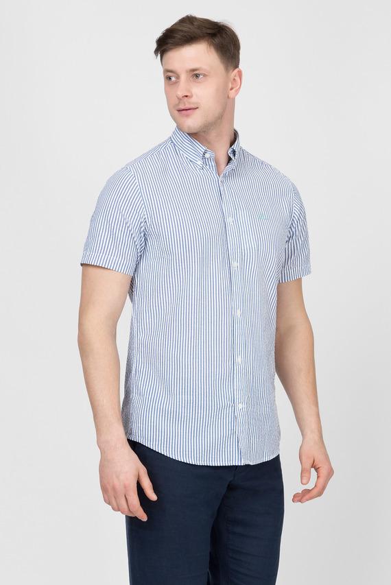 Мужская голубая рубашка в полоску SEERSUCKER