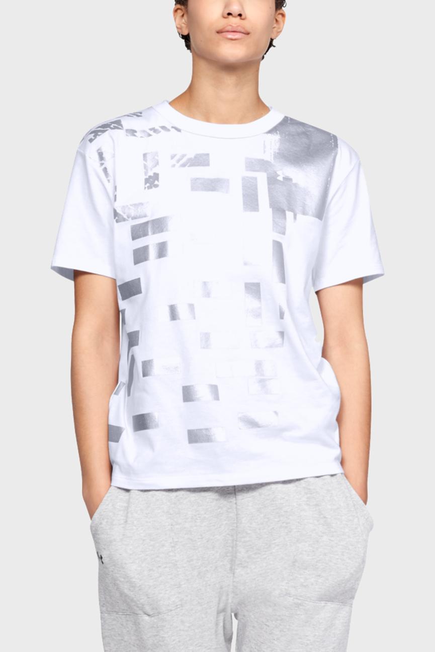 Женская белая футболка с принтом Graphic Patchwork Girlfriend Crew