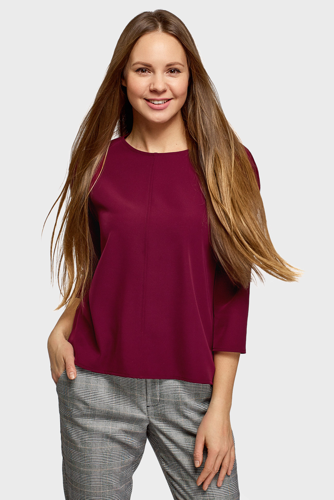 Женская бордовая блуза 1