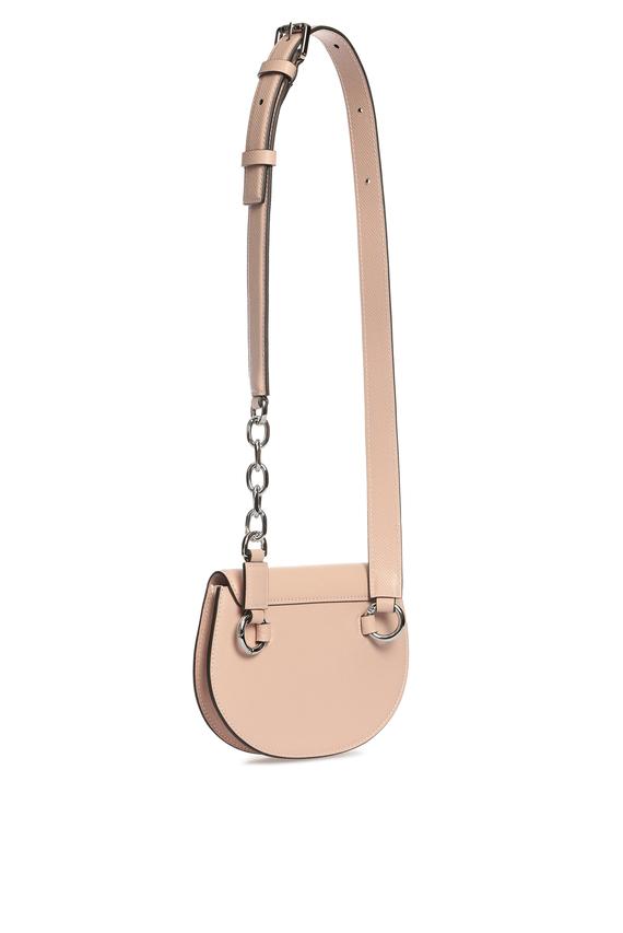 Женская пудровая кожаная поясная сумка