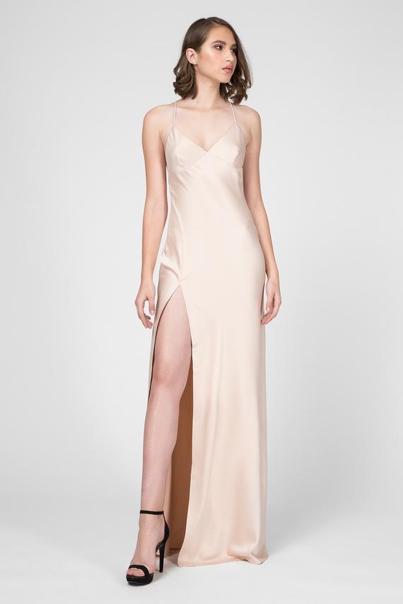 Женское бежевое платье-комбинация ALMA