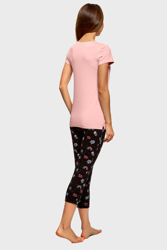 Женская хлопковая пижама (футболка, брюки)