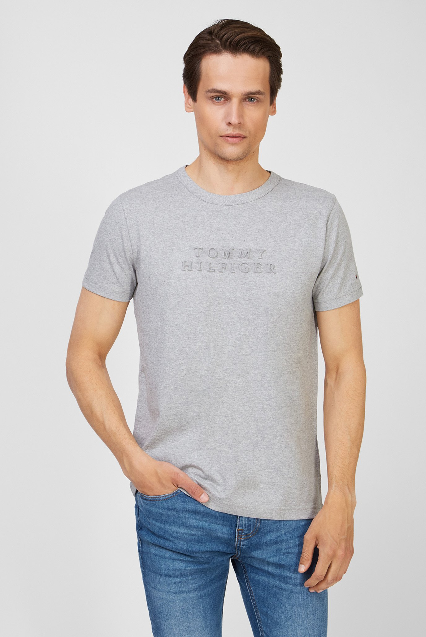 Мужская серая футболка EMBOED LOGO 1