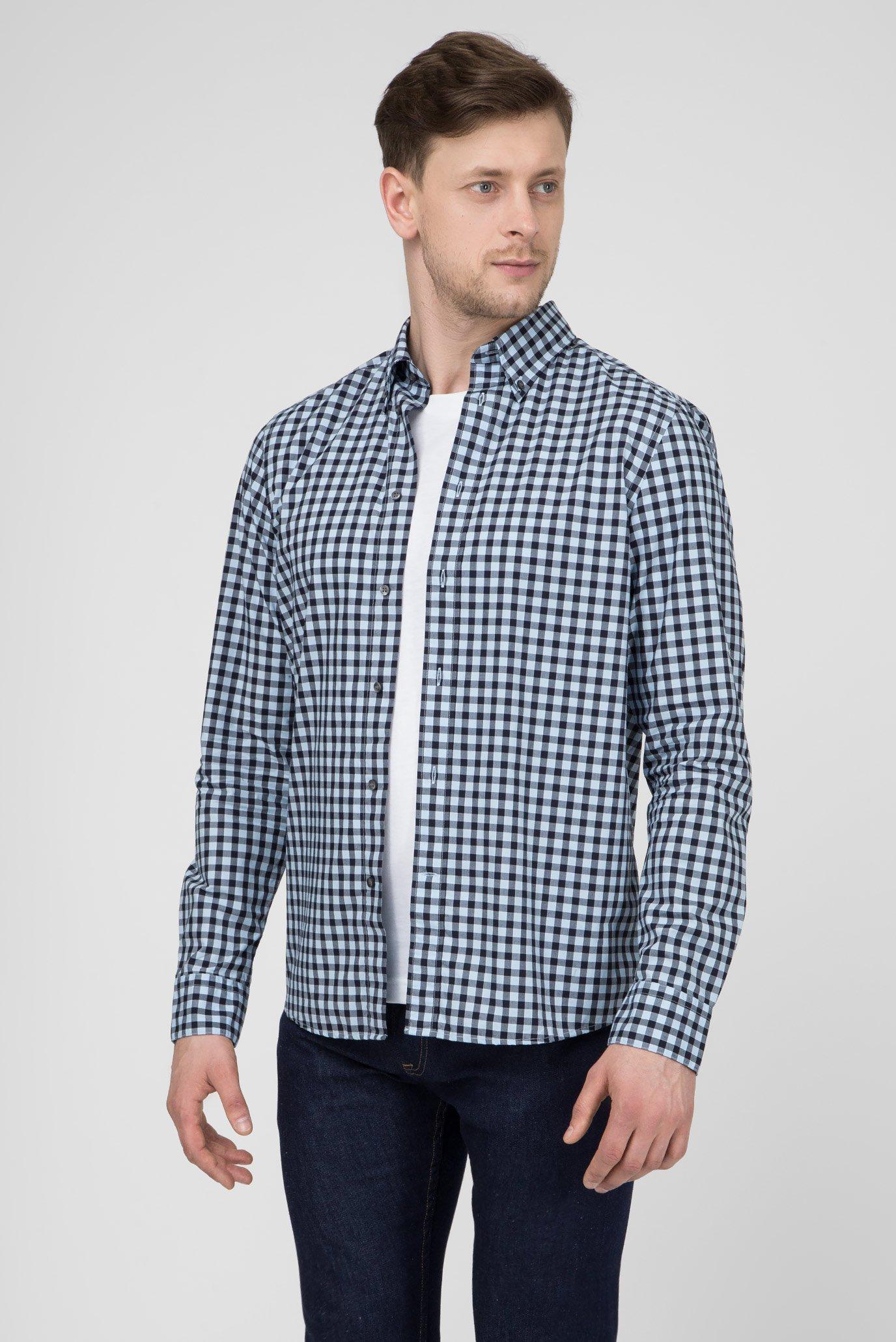 Мужская синяя рубашка в клетку Regular Fit Calvin Klein