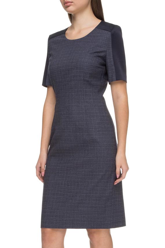 Женское синее шерстяное платье