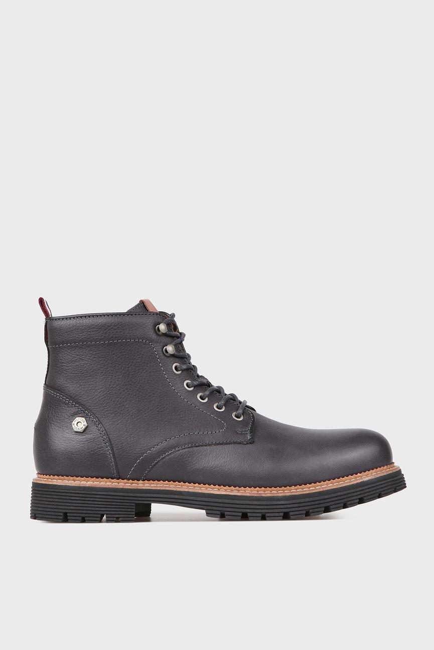 Мужские серые кожаные ботинки