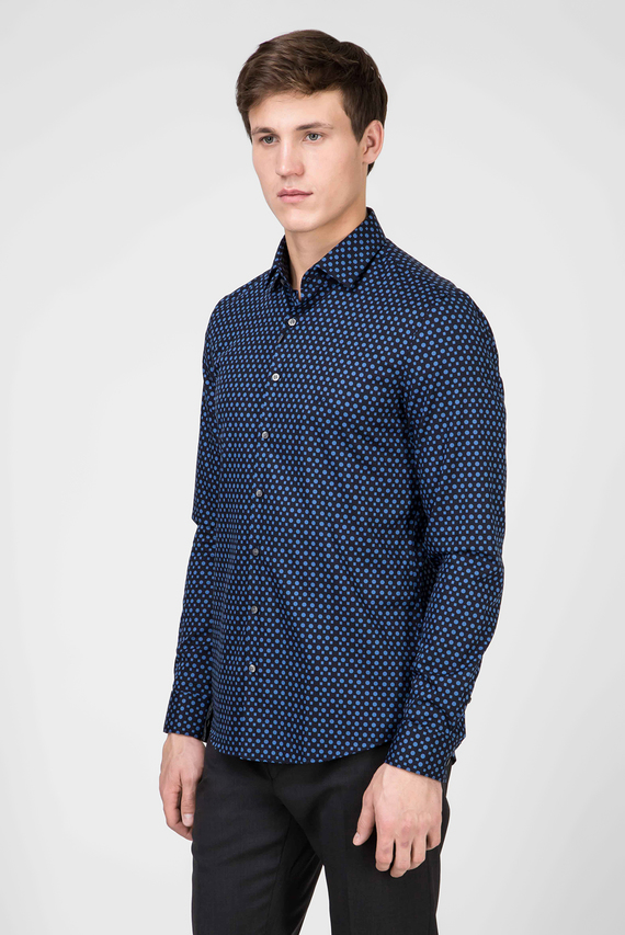 Мужская синяя рубашка PRINTED EASY IRON SLIM