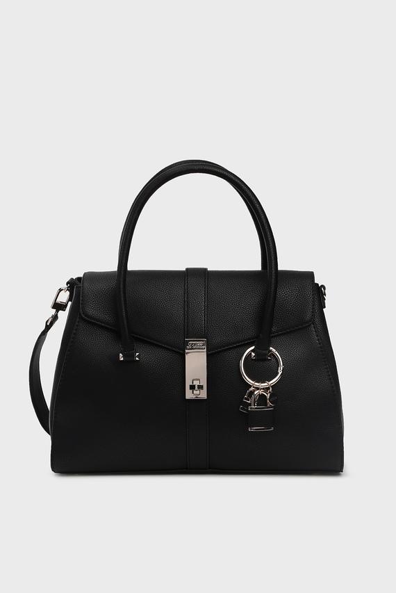 Женская черная сумка на плечо ASHER FLAP SATCHEL