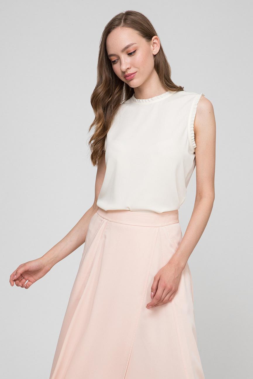 Женская светло-бежевая блуза FRILL DETAIL TOP