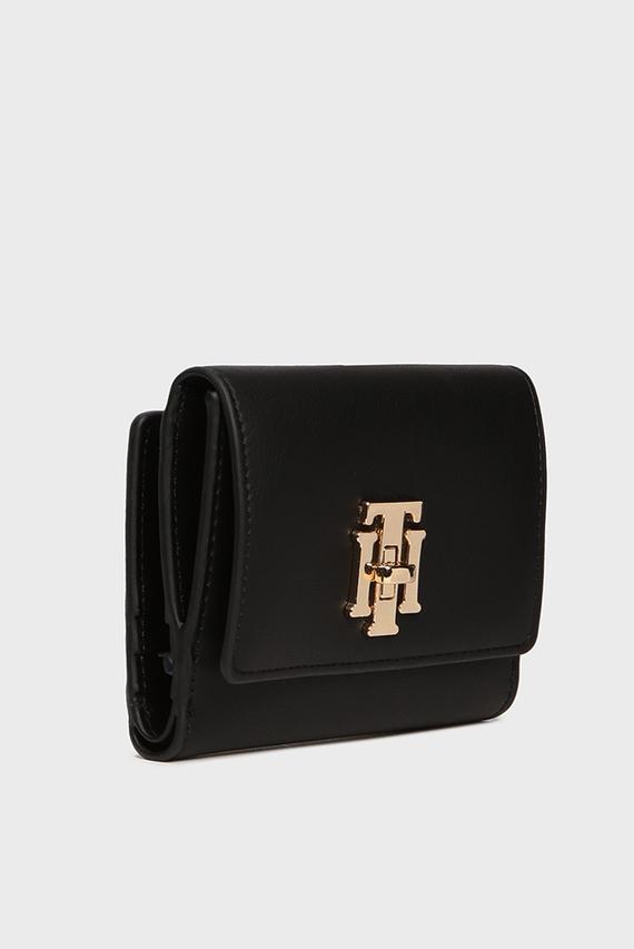 Женский черный кошелек TH LOCK MED FLAP