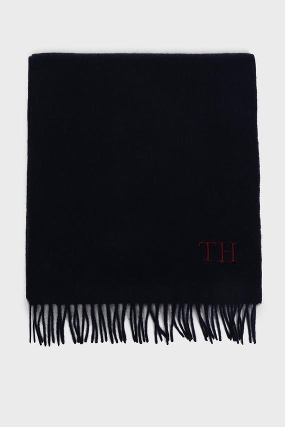 Мужской темно-синий шерстяной шарф HILFIGER WOOL