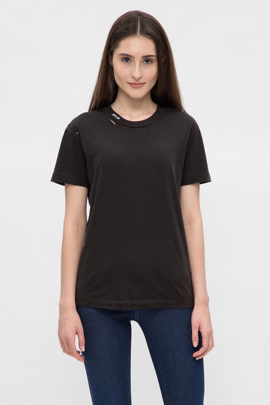 Женская черная футболка с прорехами