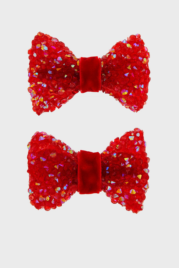 Детские красные заколки Maia Velvet Bow Clip (2 шт)
