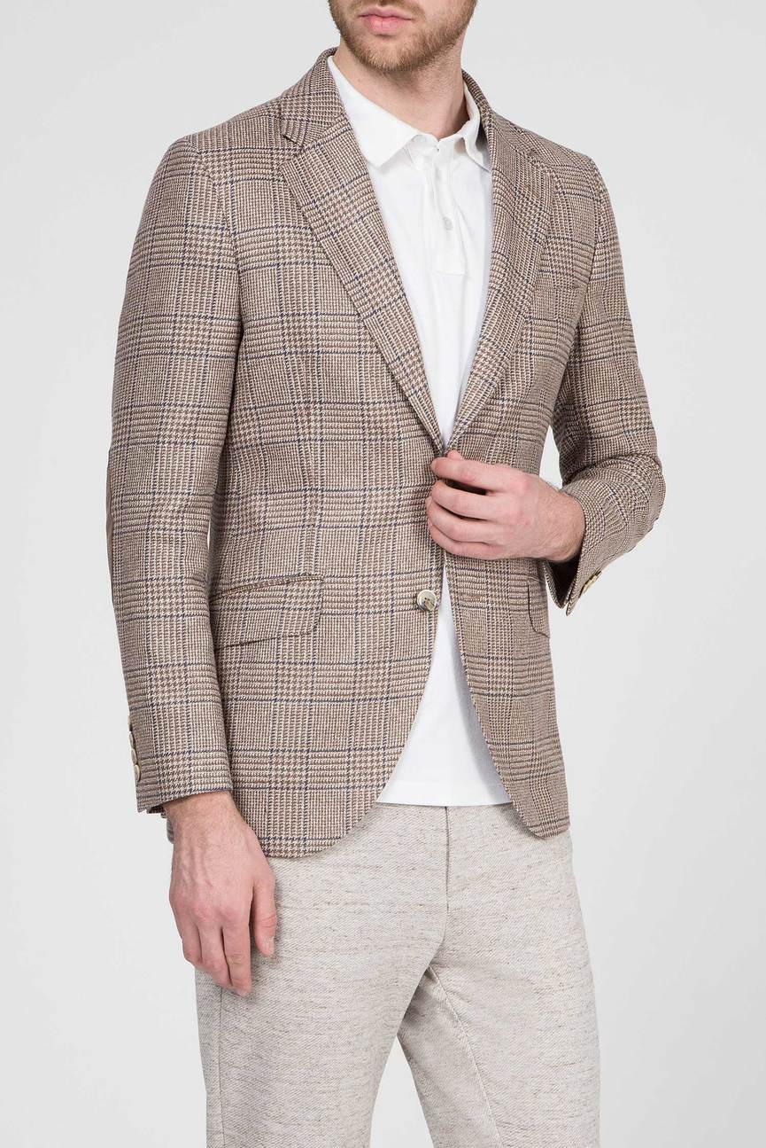 Мужской светло-коричневый пиджак в клетку