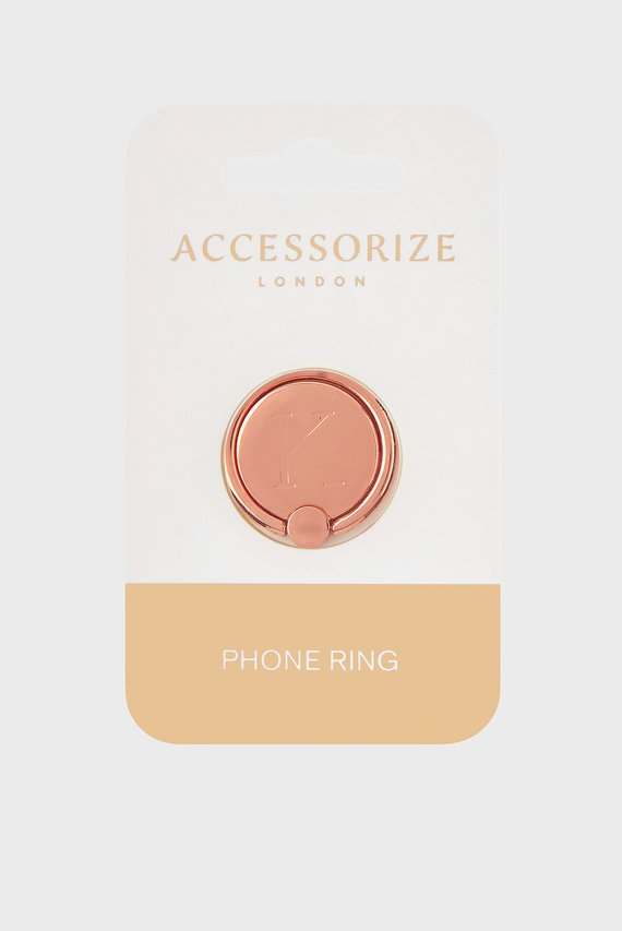 Золотистое кольцо для телефона Initial Phone Ring K