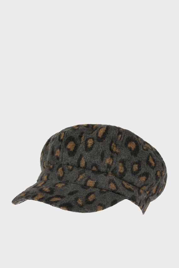 Женское серое леопардовое кепи LEOPARD BRUSHED BAKE